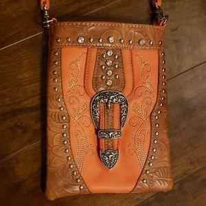 American Bling orange buckle leather purse